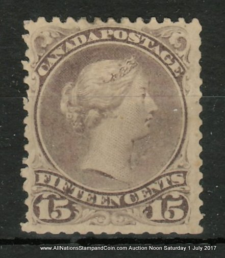 Canada #29a F/VF Mint HR OG 1874 15c Large Queen, clipped perfs