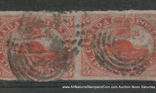 Canada #4d 1852/1857 3d Thin Paper Horizontal Pair