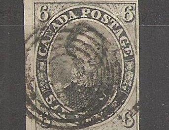 Canada #5b F/VF Used 1855 6d Albert Grayish Green Shade