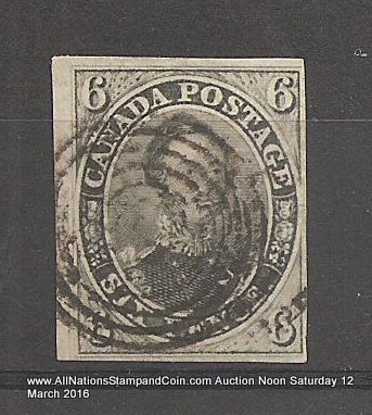 Canada #5b F/VF Used 1855 6d Albert Grayish Green Shade $1200
