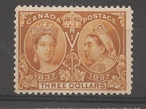Canada #63 F/VF Mint HR 1897 $3 Jubilee Nice Colour