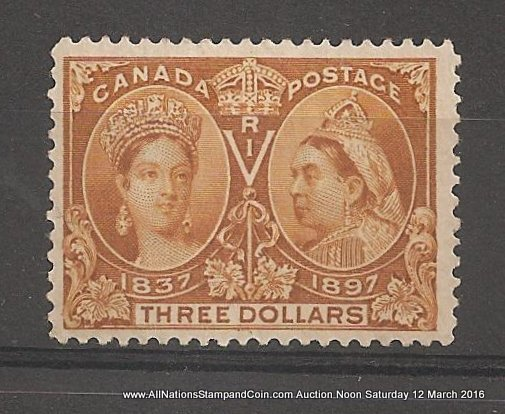 Canada #63 F/VF Mint HR 1897 $3 Jubilee Nice Colour