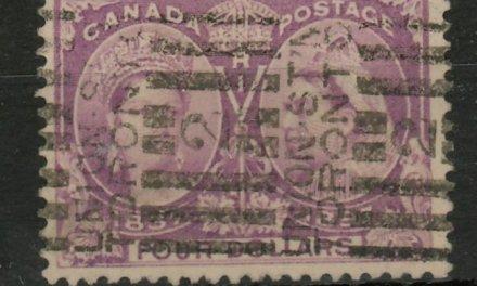 Canada #64 F/VF Union Station roller Used 1897 $4 Jubilee, ex Davidson