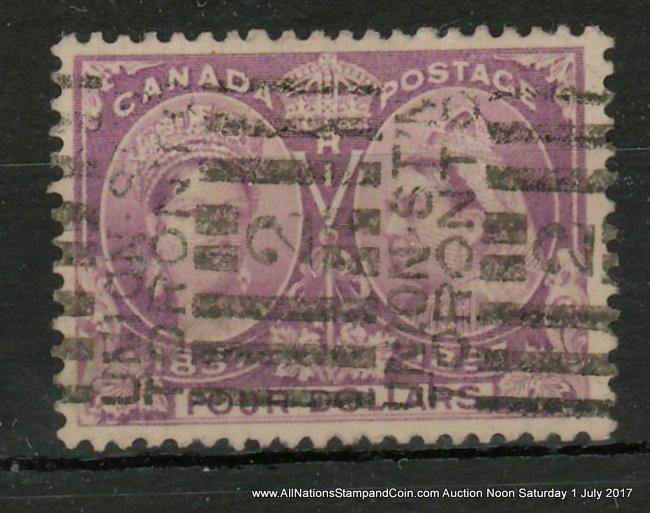 Canada #64 F/VF Union Station roller Used 1897 $4 Jubilee, ex Davidson $1200