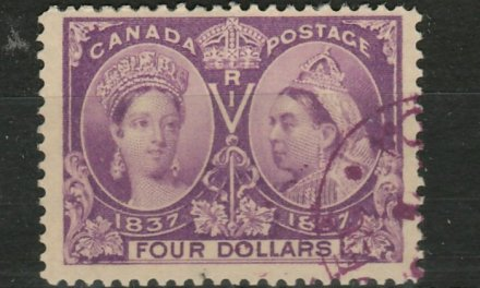 Canada #64 F/VF matching face-free Purple Used 1897 $4 Jubilee