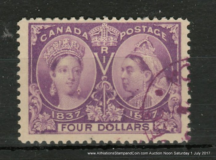 Canada #64 F/VF matching face-free Purple Used 1897 $4 Jubilee $1200