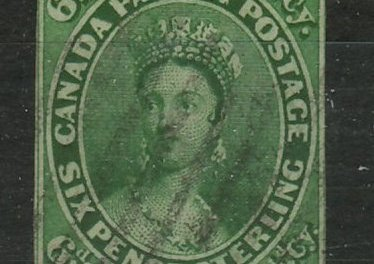Canada #9 about Fine Used 1857 7.5d Green
