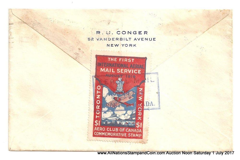 Canada #CLP3b 25 Aug 1919 $1 Aero Club First Flight Cover etc, age spots