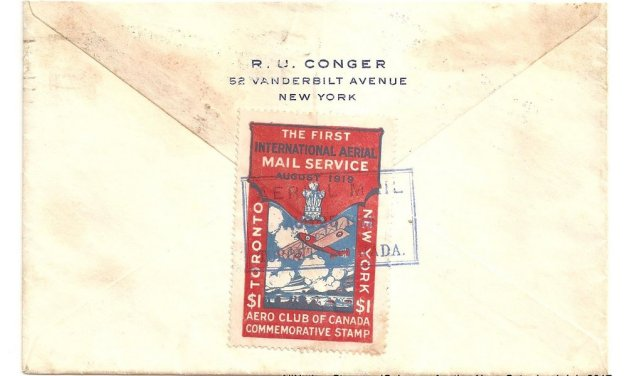 Canada #CLP3b 25 Aug 1919 $1 Aero Club First Flight Cover etc, age spots