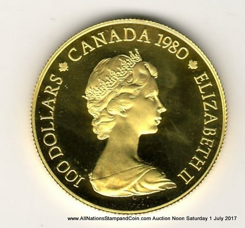 Canada Proof 1980 Arctic Territories $100 Gold .497oz AGW