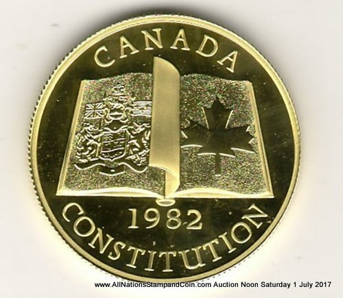 Canada Proof 1982 Constitution $100 Gold .497oz AGW