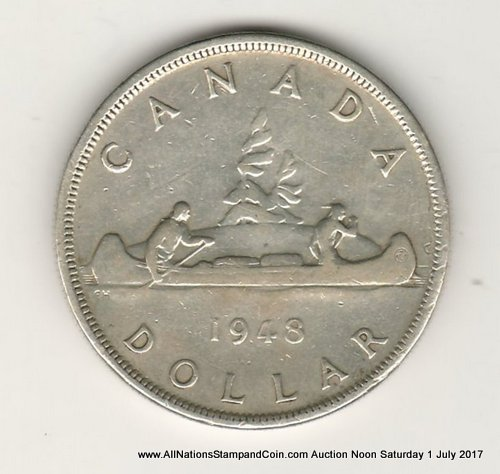 Canada VF 1948 Key Date Silver Dollar, scratches