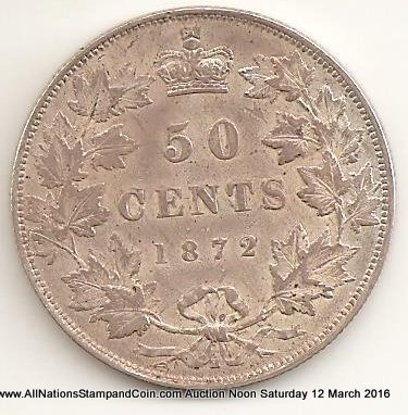 Canada XF 1872H Double Punched A of Regina Silver 50 Cents