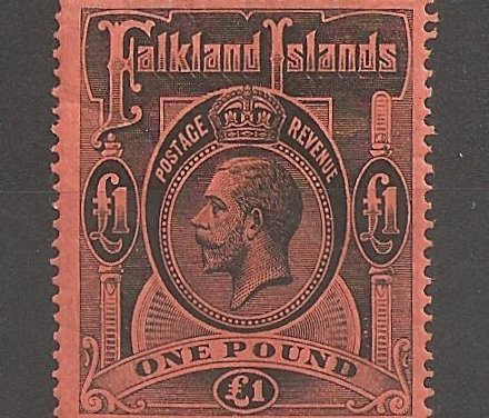 Falkland Islands #40 F/VF Mint 1912/1914 Pound George V gum wrinkle ex Fox
