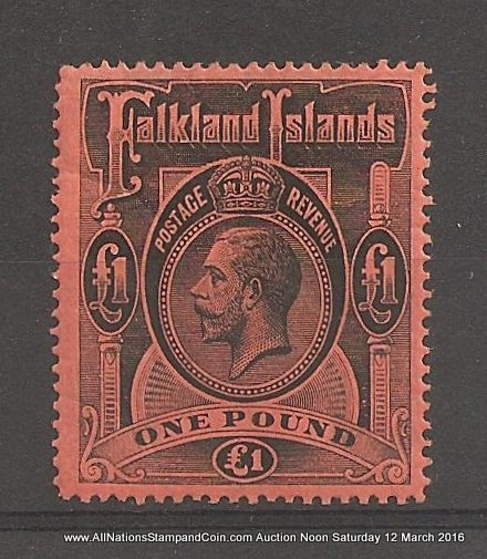 Falkland Islands #40 F/VF Mint 1912/1914 Pound George V gum wrinkle ex Fox