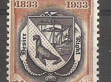 Falkland Islands #74 VF Mint 1933 5/- Penguin perf corner crease 1974 B.P.A. Cert