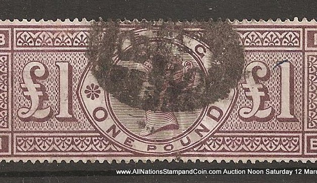 G.B. #110 F/VF Used 1884 Pound Brown Violet creased & wrinkled