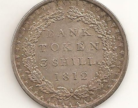 Great Britain XF 1812 3 Shillings George III Silver Bank Token