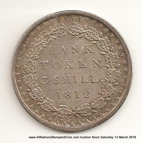 Great Britain XF 1812 3 Shillings George III Silver Bank Token