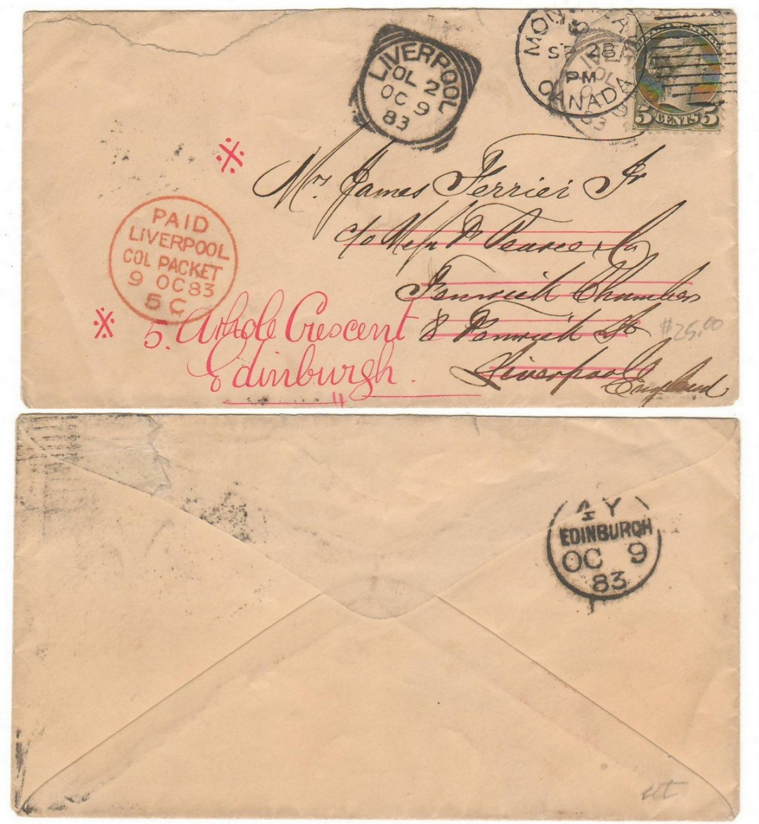 19 Canada #38 1883 5c SQ Transatlantic readdressed Cover, tear ex Robinson