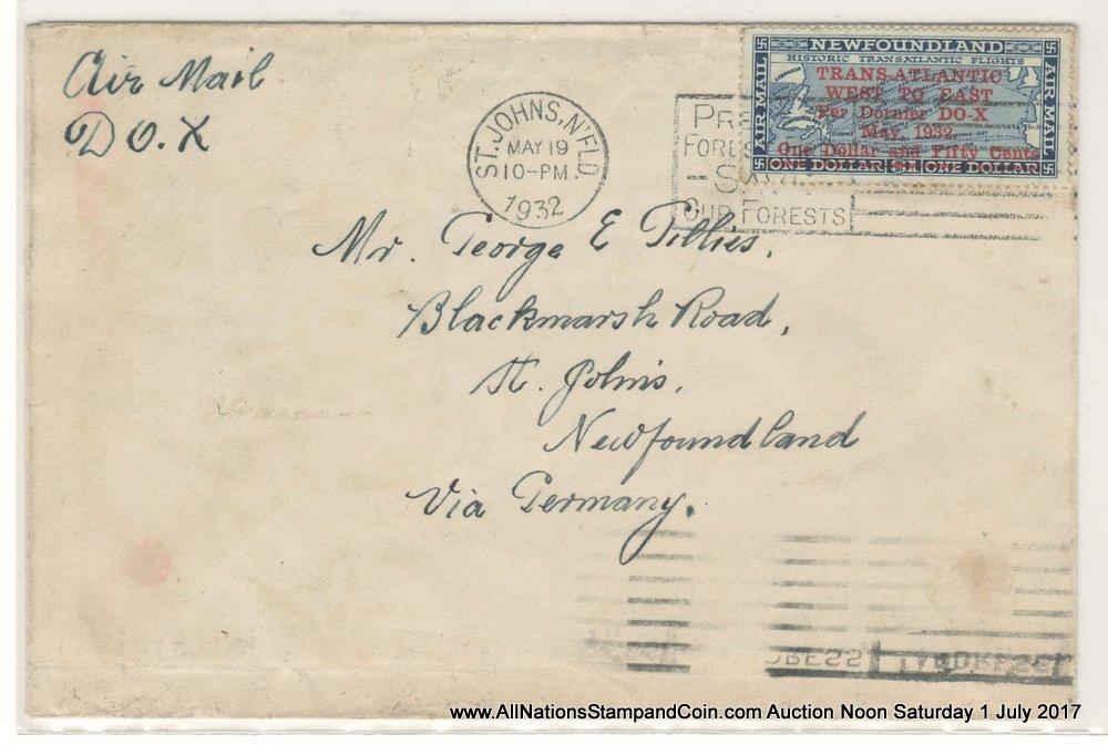 Newfoundland #C12 19 May 1932 $1.50 DO-X First Day/Flight Cover $500