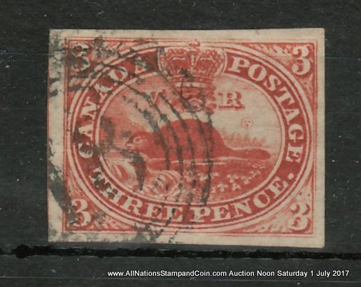 Canada #4 XF Kingston #18 4-ring Numeral Used 1852 3d Beaver