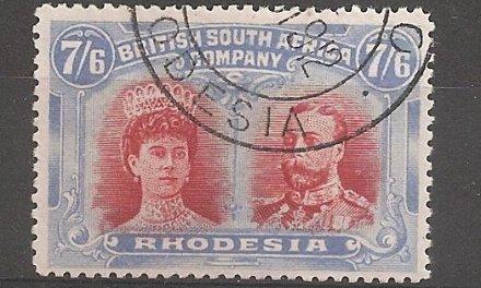Rhodesia #116 Fine+ Used 1910 7/6d Double Head