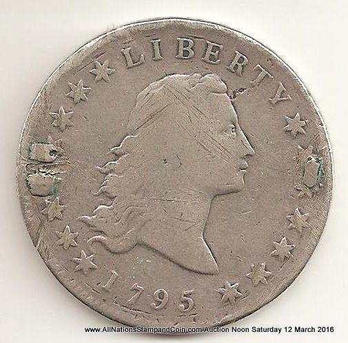 U.S.A. About Good 1795 Silver Dollar has been used as brooch