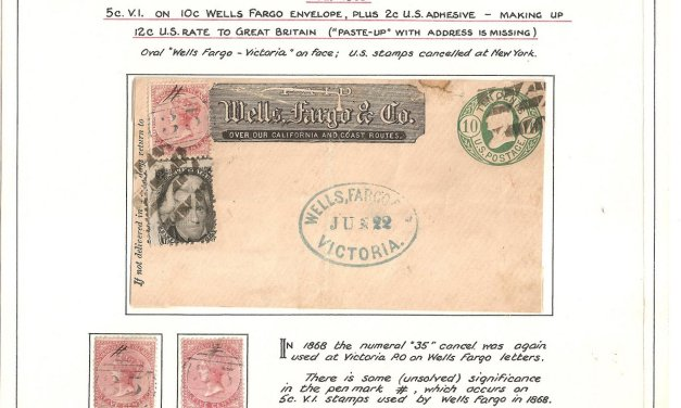 Wells Fargo 1868 uprated mixed franked paste up front, faults, #5 duo ex Wellburn