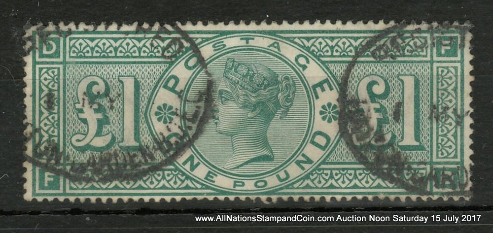 G.B. #124 Fine Used 1891 Queen Victoria Pound Green