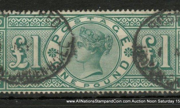 G.B. #124 Fine Used 1891 Queen Victoria Pound Green