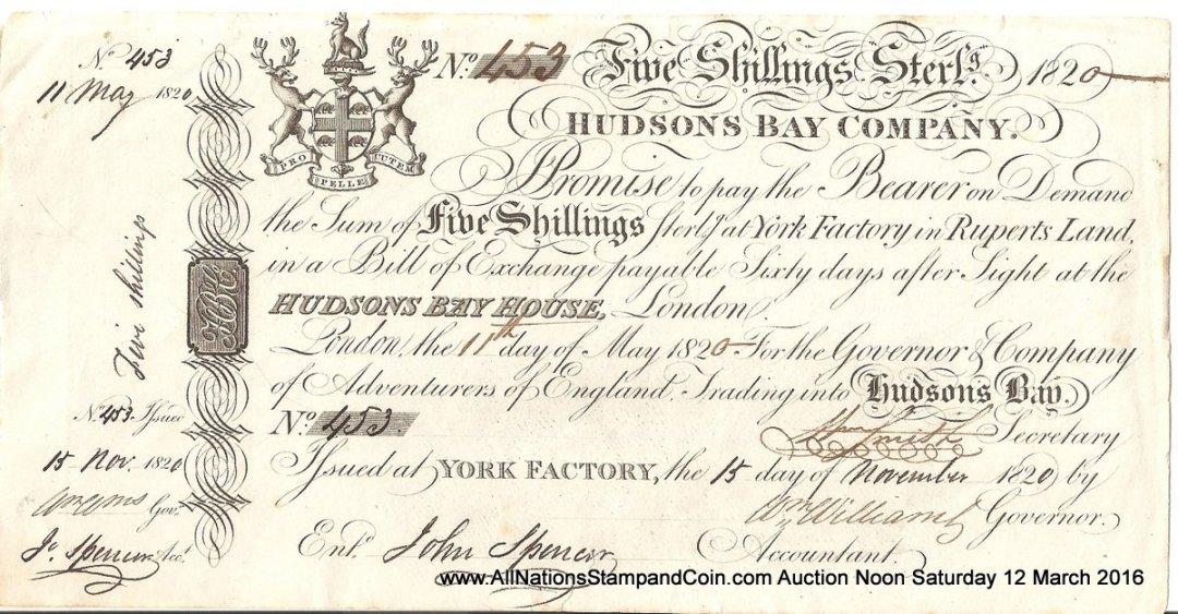 Hudson's Bay Company abt Unc 1820 5 Shillings watermarked, tear, ex Harding