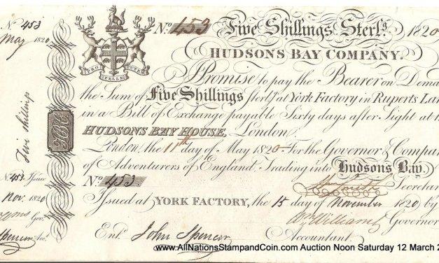 Hudson's Bay Company 1820 5 Shillings