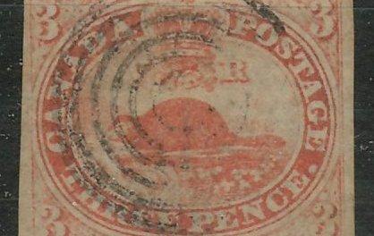 Canada #1a F/VF Used 1851 3d Orange Red
