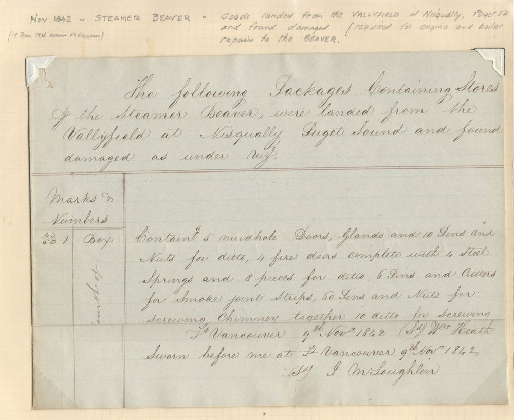 1842 John McLoughlin Signed H.B.C. Document ex Wellburn