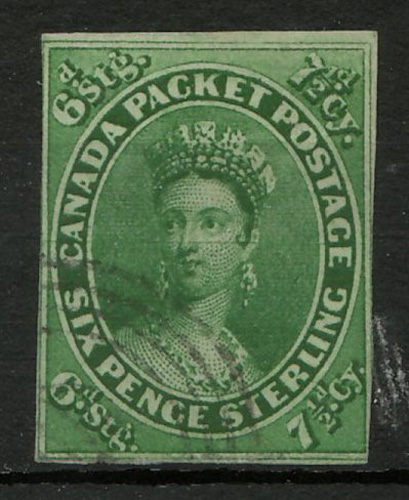 Lot17 Canada #9 Fine Used 1857 7.5d Imperforate $2000