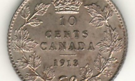Canada 1913 Broad Leaves Silver 10 Cents