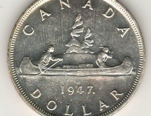 Canada 1947 Maple Leaf double HP Silver Dollar