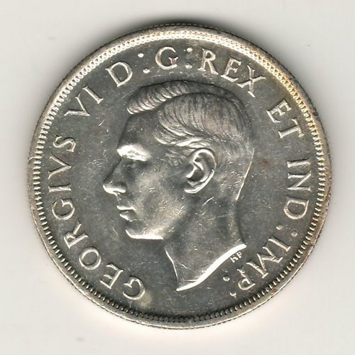 Canada Unc 1947 Maple Leaf double HP Silver Dollar obverse George VI