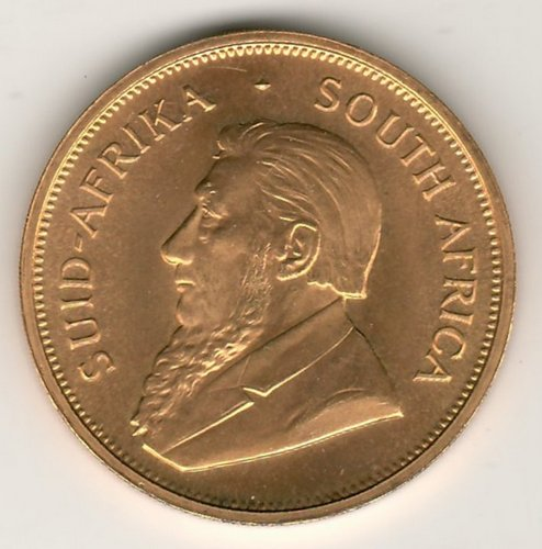 South Africa BU 1974 Ounce Gold Krugerrand .9939oz AGW obverse