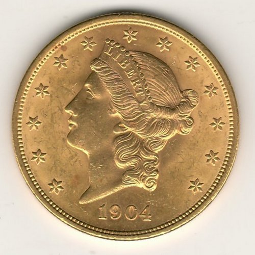 lot 188 U.S.A. BU 1904 Liberty Head $20 Gold Double Eagle .9675oz AGW obverse