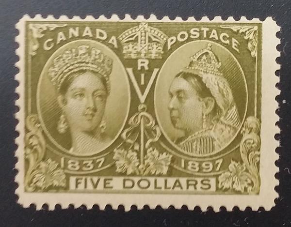 Canada #65 Fine Never Hinged 1897 $5 Jubilee $2400.