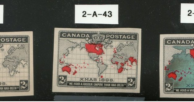 Canada #85-86 1898 2c Map Progressive Plate Proof Trio
