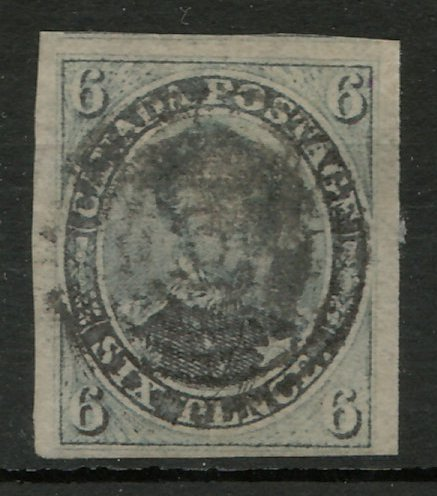 Canada #2 VF Used 1851 6d Laid Paper 2004 Greene Cert