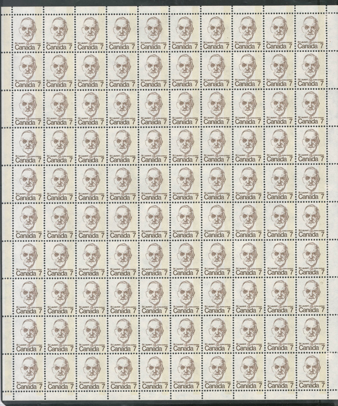 Canada #592var 1974 7c 1-bar Tagging error Sheet
