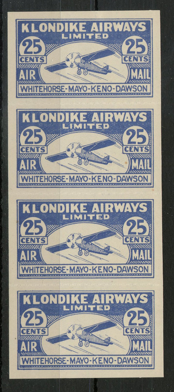 Klondike Airways #CL45 VFNH 1928 25c Strip $495. (4), lot 67