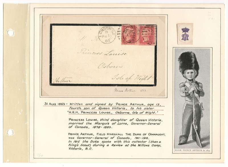 Lot  1  Prince Arthur signed 1863 2d Mourning Cover to Princess Louise on Wellburn page.