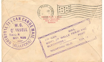 Tonga1935 2.5d Tin Can Canoe Mail Cover to San Diego