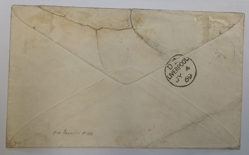 Wells Fargo 1869 mixed franked Cover to Liverpool, back of cover