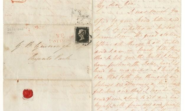 Great Britain#1 22 Dec 1840 1d Black 3-page F.L.S